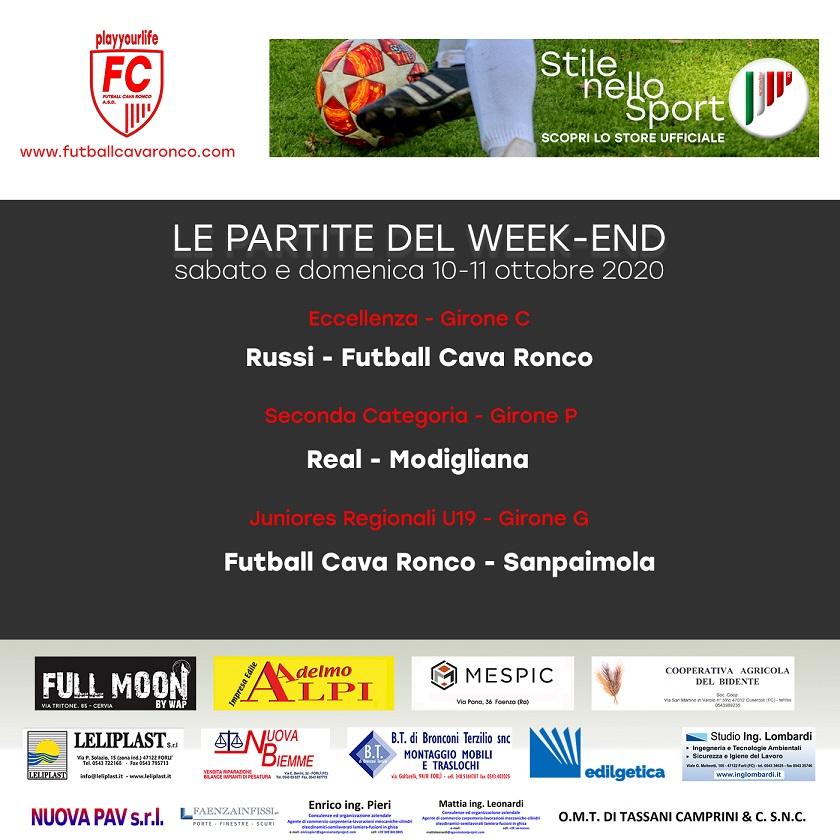 Partite Weekend 10-11 ottobre Futball Cava Ronco - Stagione 20/21