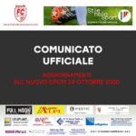 COMUNICATO UFFICIALE RELATIVO AL NUOVO DPCM 24 OTTOBRE 2020