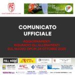COMUNICATO UFFICIALE: AGGIORNAMENTI DALLA FEDERAZIONE SUL DPCM 24 OTTOBRE 2020