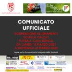 COMUNICATO UFFICIALE: SOSPENSIONE ALLENAMENTI