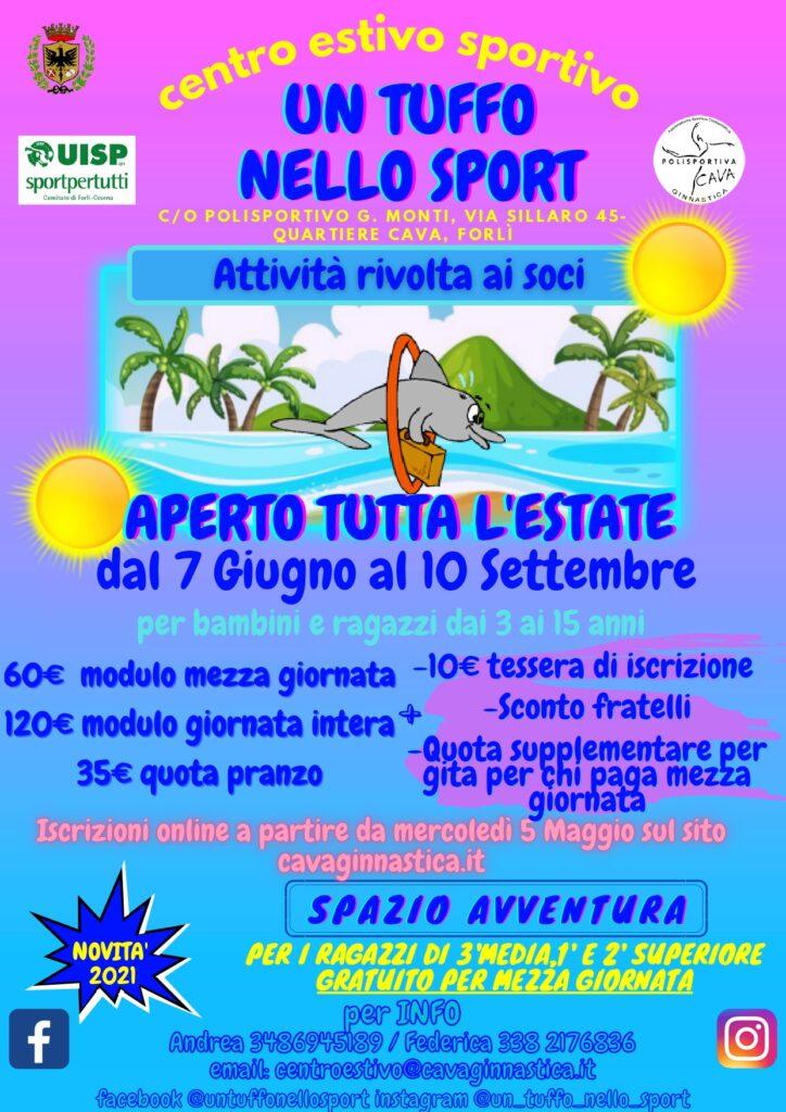 """Centro Estivo 2021 a Forlì """"UN TUFFO NELLO SPORT"""": Sport, Grandi e divertentissimi giochi, Avventura, Attività laboratoriali, compiti e Gita settimanale!"""
